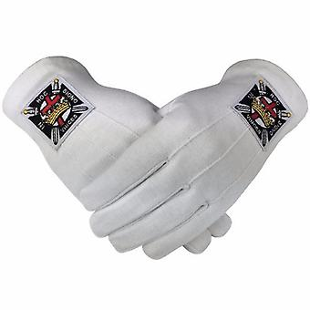 Masonic knight templar kt 100% cotton machine embroidery emblem glove