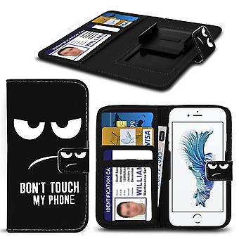i-Tronixs Alcatel Onetouch Flash 2 Case PU Leather Printed Dont Touch My Phone Text Mad Eyes Design Pattern Wallet Clamp Style Spring Skin Cover- Dont Touch My Phone -Eyes