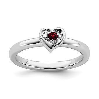 2.25mm 925 Sterling Silver Polished Prong set Rhodium plated Stackable Expressions Garnet Love Heart Ring Jewelry Gifts