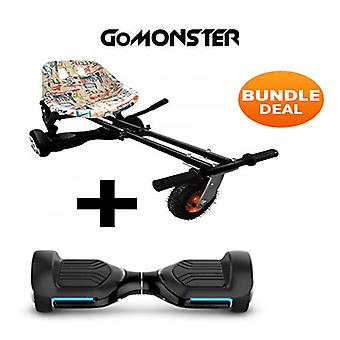 "6.5"" G PRO Black Bluetooth Hoverboard with Go Monster Hoverkart in Graffiti"