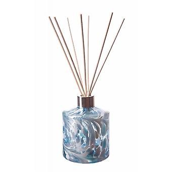 Amelia Art Glass Cylinder Reed Diffuser - Turquoise et Blanc