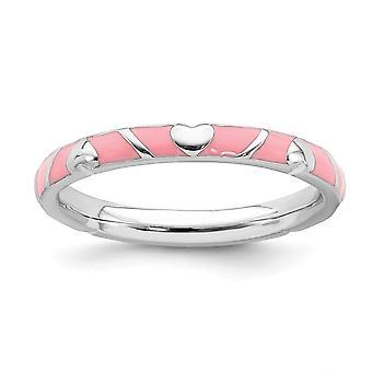 2,5 mm 925 Sterling Silber poliert stapelbare Ausdrücke rosa Emaille Liebe Herz Ring Schmuck Geschenke für Frauen - Ring Größe