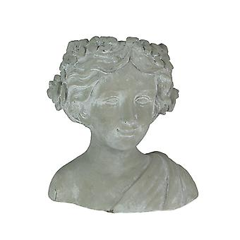 Whitewashed Gray Concrete Classic Greek Woman Head Planter 10 Inches High
