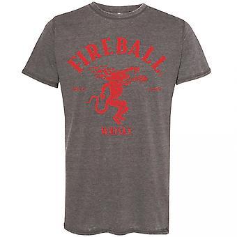 Fireball Whisky Logo Acid Washed T-Shirt