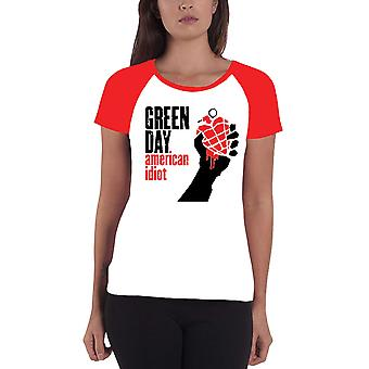 Green Day T Shirt American Idiot band logo Officiële Womens super Skinny Fit