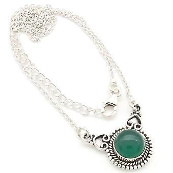 Onyx Necklace 925 Silver Sterling Silver Chain Necklace Green (MCO 10-14)