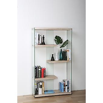 Libreria Libra Color Legno, Trasparente in MDF, Vetro 91,5x30x149 cm
