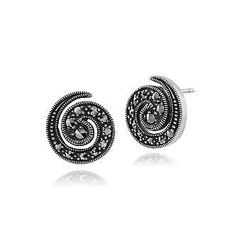 Jugendstil Runde Marcasite Spiral ohrstecker in 925 Sterling Silber 214E492301925