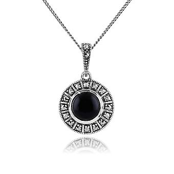 Art Deco Style Round Black Onyx Cabochon & Marcasite Pendant Necklace in 925 Sterling Silver 214N646502925