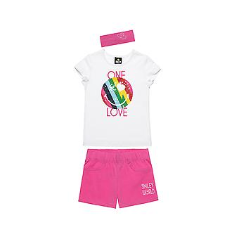 Alouette Girls' Smiley T-Shirt With Ribbon And Shorts With Ribbon
