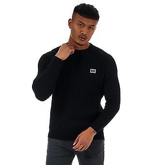 Men's Weekend Offender Burnham Cotton Cable Knit in Black