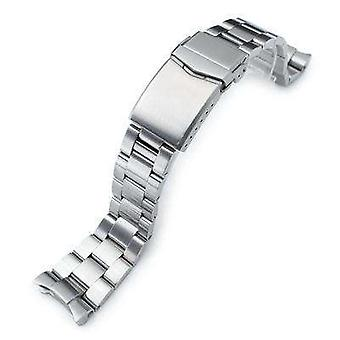 Strapcode watch bracelet 22mm super 3d oyster watch band for seiko diver skx007/009/011, brushed, v-clasp button double lock