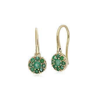 Cluster Runde Smaragd Kreis Fisch Haken Ohrringe in 9ct Gelbgold 135E1573039
