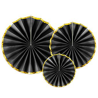 3 Black with Gold Edge Rosette or Fan Paper Decorations