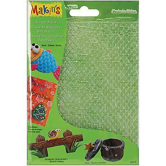 "Makin's Clay Texture Sheets 7""X5.5"" 4/Pkg-Set D (Scale,Snowflake,Woodgrain&Stars)"