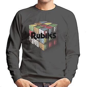 Rubik's kleurrijke getekende kubus mannen Sweatshirt