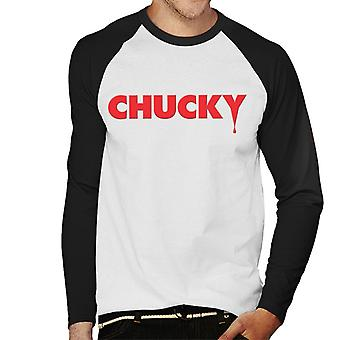 Chucky Classic Logo Dripping Blood Men's Baseball camiseta de manga larga