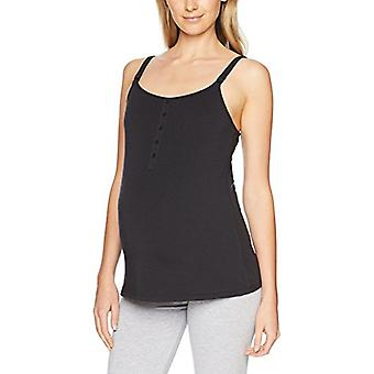 Brand - Arabella Women's Henley Nursing Tank, Jet Black, Small