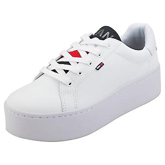 Tommy Jeans Icon Padded Nylon Womens Flatform Trainers in White