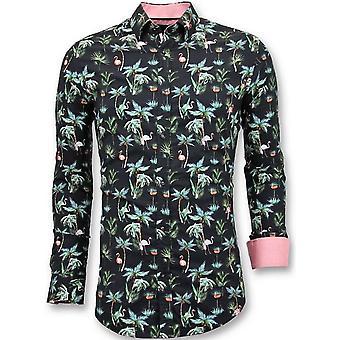 Casual Shirts - Digital Flowers Print - Black