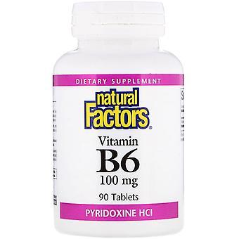 Natural Factors, Vitamin B6, Pyridoxine HCl, 100 mg, 90 Tablets