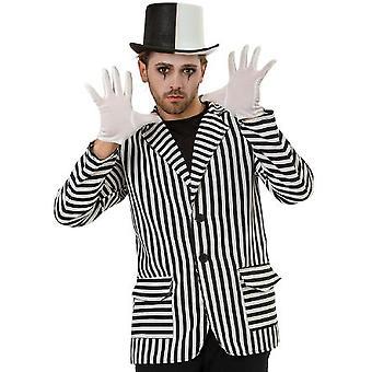 Jas Heren Kostuum Zwart Witte Jas Streep Carnaval Kostuum Heren