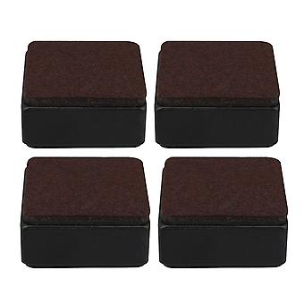 4pcs 60x32mm Carbon Steel Brown Furniture Legs Lifter Self Adhesive Black