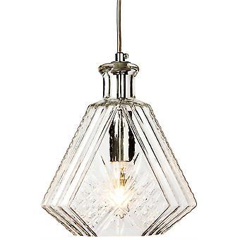 Firstlight Decanter - 1 Light Ceiling Pendant Chrome, Verre Décoratif Transparent, E14