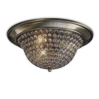 Plafond de cuvette de chasse d'eau grand 3 laiton antique léger, cristal