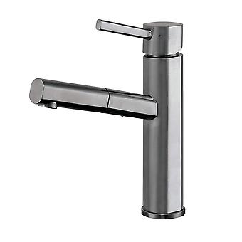 Waterhaus Lead-Free Solid Stainless Steel, Single Hole, Single Lever Kitchen Faucet With Pull-Out Spray Head - Gunmetal