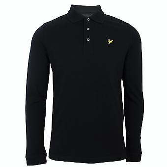 Lyle & scott men's jet black long sleeve polo shirt