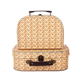 Sass & Belle (Set of 2) Rattan Print Suitcases