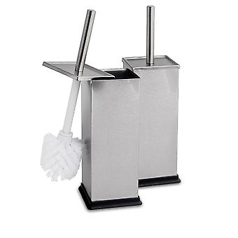 Square Toilet Brush & Holder Set - Brushed Steel - Pack of 2