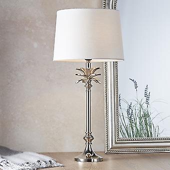 Endon Beleuchtung Blatt & Mia - Tischlampe poliert Nickel Platte & Vintage weiß Leinen 1 Licht IP20 - E27