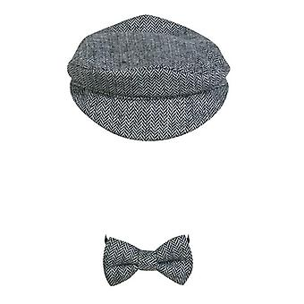 Newborn Baby Peaked Beanie Cap / Hat Bow Tie Photography Prop- Outfit Set