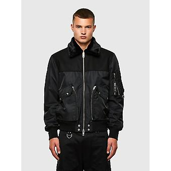 Diesel W-louis Bomber Fur Black Jacket