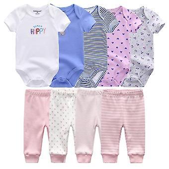 Solid Bodysuits + bukser Baby Boy Tøj Sæt Unisex Nyfødte Bomuld