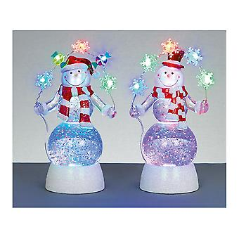 Premier Decorations Snowman Water Spinner Colour Changing LB151298