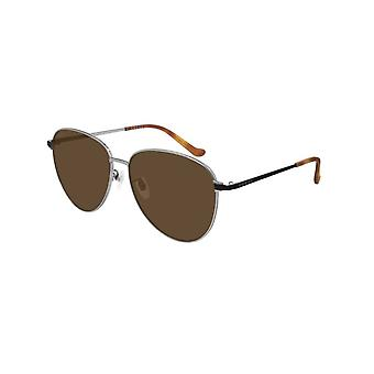 Gucci Gg0573sk 002 Gucci Logo Black Brown e Ruthenium Silver Aviator Occhiali da sole