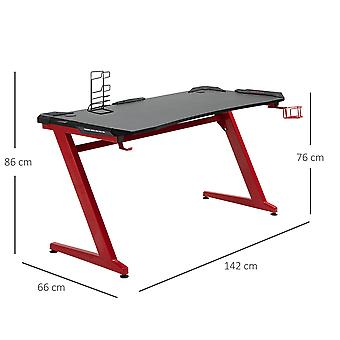 HOMCOM Gaming Desk Computer Writing Table with Large Workstation for Home Office, 142 x 66 x 86cm, Black and Red