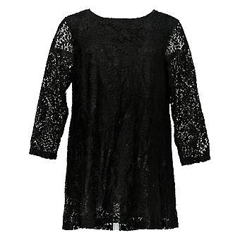 Joan Rivers Classics Collection Kvinder's Top Lace Tunika Sort A297991
