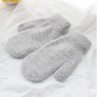 Winter Thick Knitted Cashmere Double Layer Plush Wool Knit Warm Cute Fingered