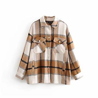 Manteaux de chemise oversized de poche de laine épaisse de laine de streetwear de femmes
