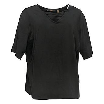 G.I.L.I. Got It Love It Women's Top V-Neck Elbow Sleeve Knit Negro A375516