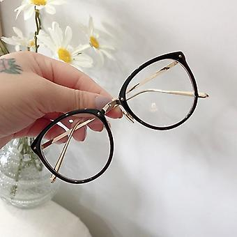 Optical Glasses Frame Round Oversized Eyeglasses Metal Spectacles Clear Lenses
