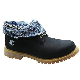 Timberland AF Autentisk rulle Top Womens Boots Navy Blå Läder Spets 8261A B26A