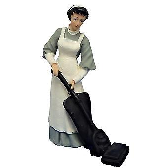 Dolls House Människor viktorianska Maid I Grå Hoovering Harts Figur