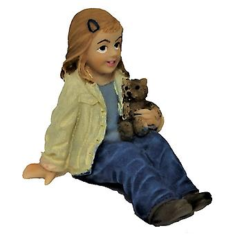 Dolls House Little Girl Sitting With Teddy 1:12 People Resin Figure