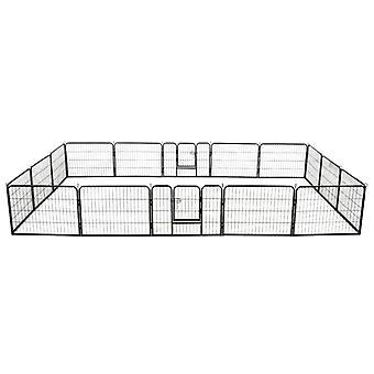 Dog running stable 16 panels steel 60x80 cm Black