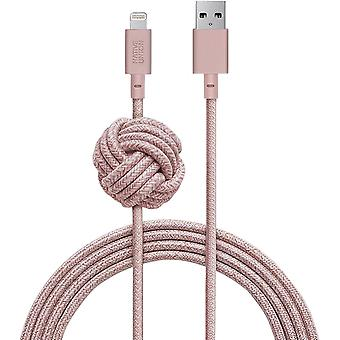 Native Union NIGHT Cable - 10ft  [MFi Certified] Lightning to USB Charging Cable (Rose)
